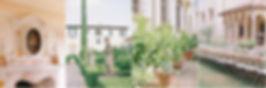 Beautifully styled, on trend, wedding breakfast table in Italian Renaissane garden.