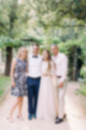 Wedding Photography Villa le Piazzole, Florence, Family Portrait in Pretty Tree Garden