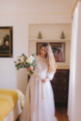 Fine Art Wedding Photography Villa le Piazzole Florence Italy Bride holding her bouquet
