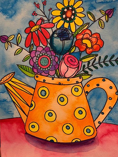 Online Watering Can Watercolor Painting Tutorial