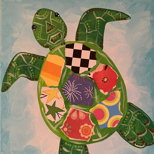 Online Sea Turtle Collage Painting Tutorial