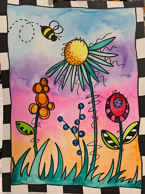 Virtual Spring Whimsical Flower Watercolor Painting