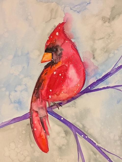 Virtual Cardinal Watercolor Painting