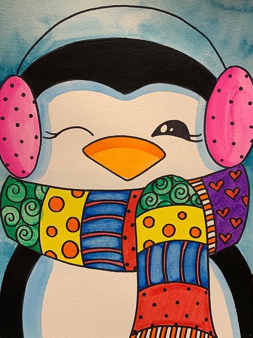 Virtual Penguin Multimedia Painting