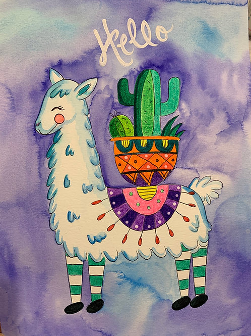 Online Llama Watercolor Painting Tutorial