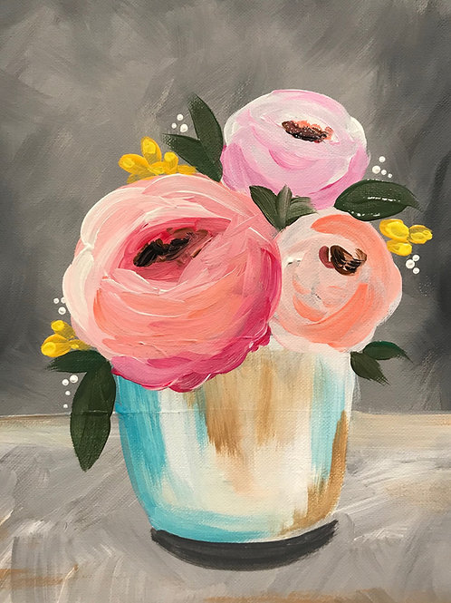 Online Spring Flowers Acrylic Painting