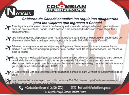 Gobierno de Canadá actualiza los requisitos obligatorios para los viajeros que ingresan a Canadá