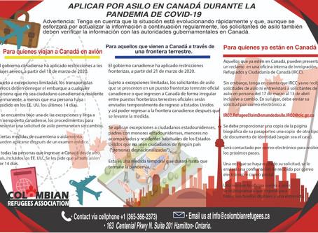 APLICAR POR ASILO EN CANADÁ DURANTE LA PANDEMIA DE COVID-19