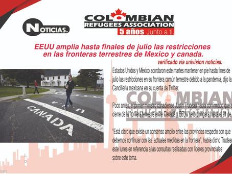 Ampliación en cierre de fronteras Canada, Estados Unidos y México.
