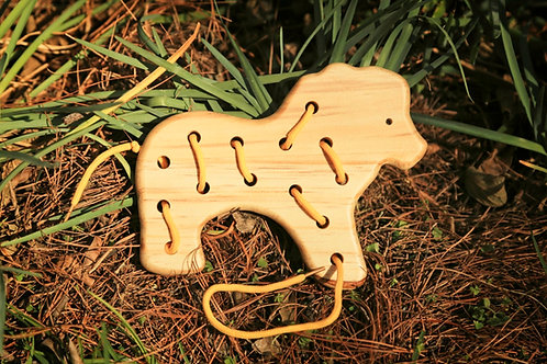 Wood Lion Lacing Toy