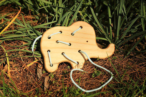 Wood Elephant Lacing Toy