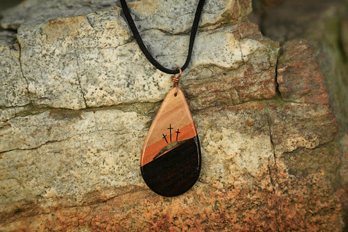 3-Tone Teardrop Calvary Necklace