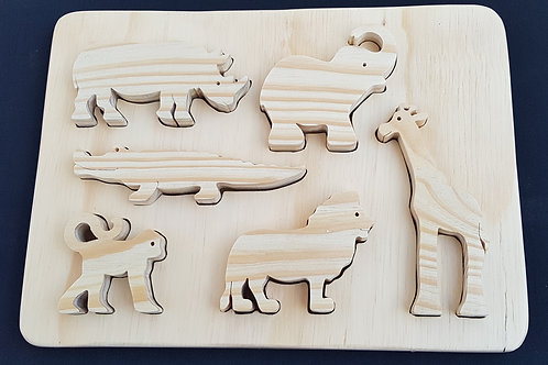 African Animal Puzzle Playset