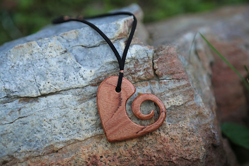 Acacia wood Swirl Heart Necklace