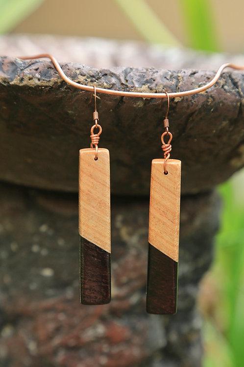 Slender Rectangle 2-Tone Earrings