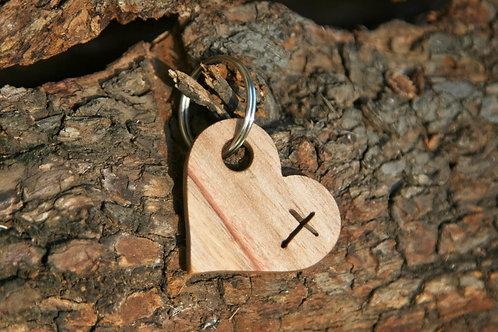 Heart Shaped Keychain - cross cutout