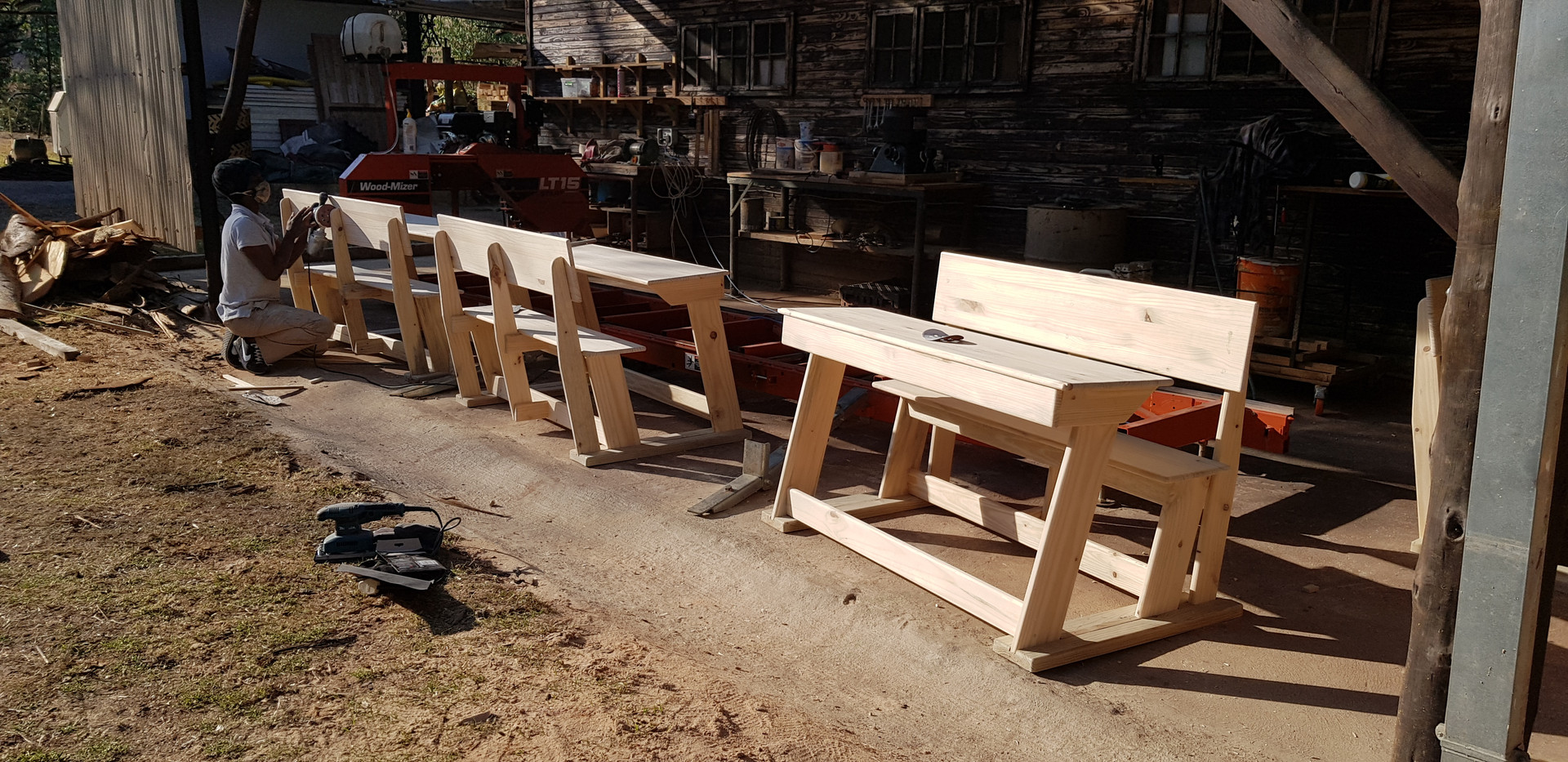 Desks waiting to be finished