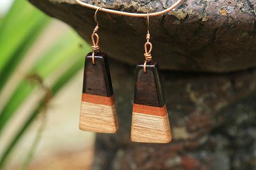 Trapezoid 3-Tone Earrings