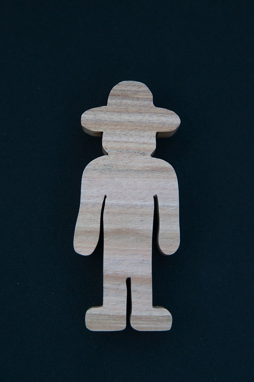 Wooden cutout farmer.