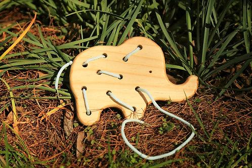 Wood Elephant Lacing Toy