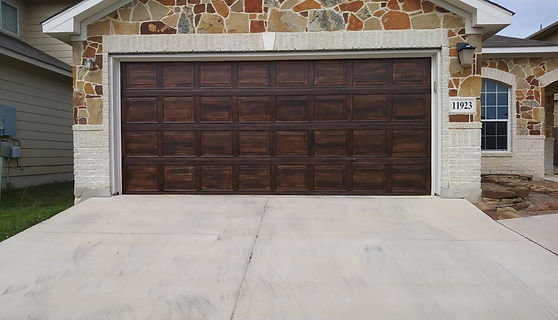 painted flush steel door to look like custom wood