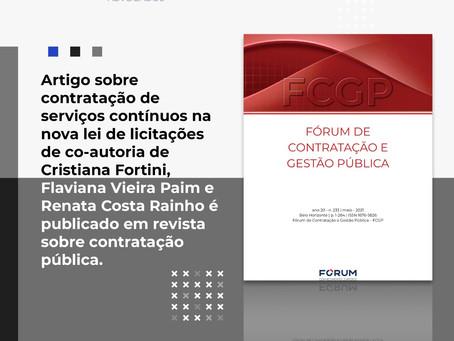"""Artigo """"Os serviços contínuos na Nova Lei de Licitação"""""""