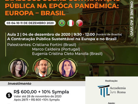"""Sócia Cristiana fortini palestra sobre """"A contratação pública sustentável na Europa e no Brasil"""""""