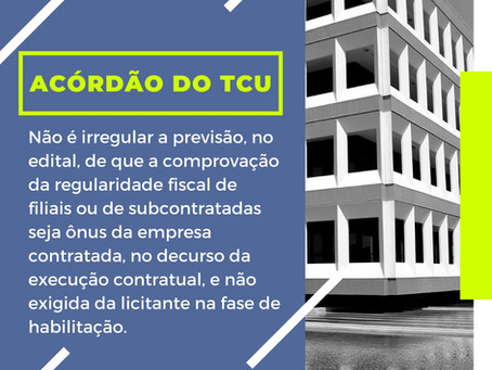 Comentário sobre acórdão do TCU referente à licitação