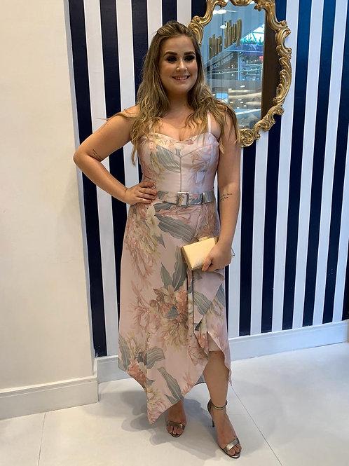 Vestido Midi Floral com Saia Assimétrica e Cinto
