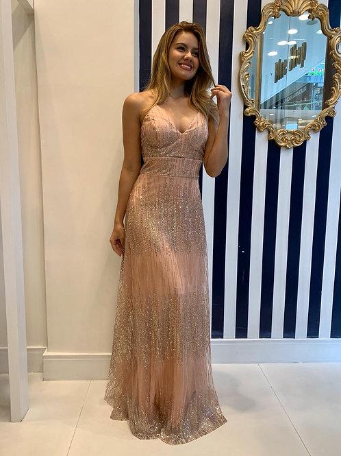 Vestido de Glitter com Decote Strappy