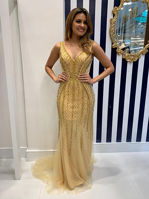 Vestido Bordado Dourado Sereia