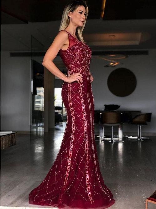 Vestido Marsala de Pedrarias Semi Sereia