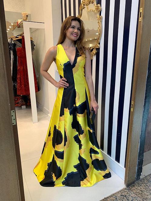 Vestido de Zibeline Estampado Amarelo e Preto