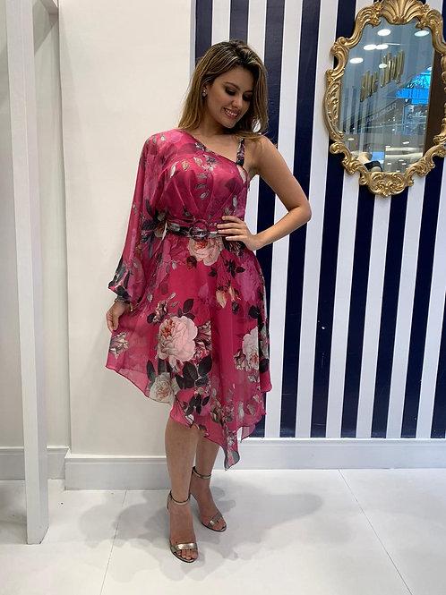 Vestido Midi Floral Assimétrico