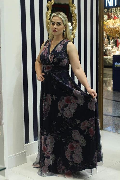 Vestido Floral Azul Marinho