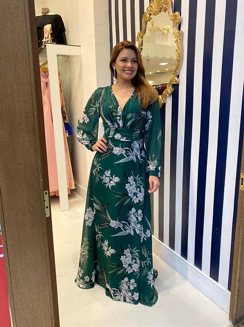 Vestido Florido de Mangas Longas e Decote V