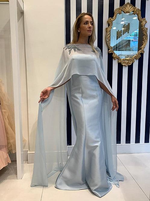 Vestido Zibeline Sereia com Capa Longa