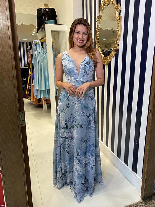 Vestido estampado azul serenity