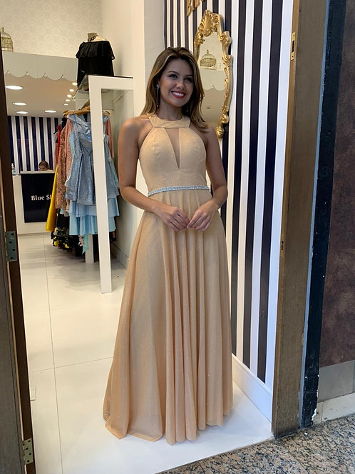 Vestido Dourado com Cinto Bordado