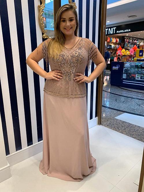 Vestido de Festa Plus Size com Blusa Bordada