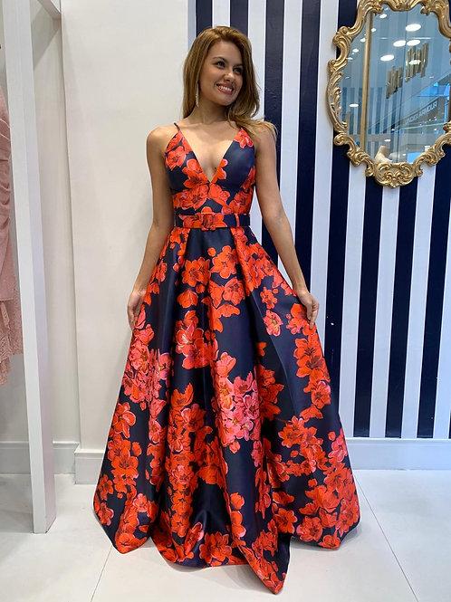 Vestido de Zibeline estampado floral azul marinho e vermelho