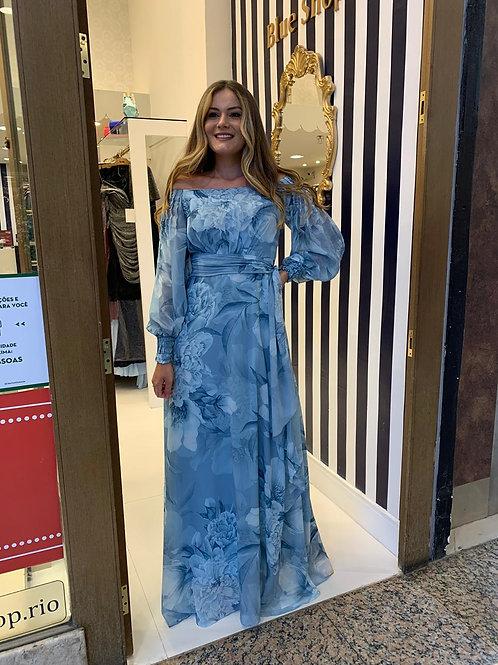 Vestido Estampado Com Manga Longa