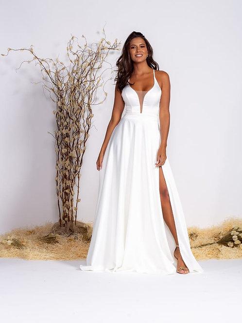 Vestido Branco Saia Ampla