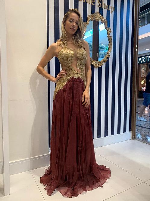 Vestido com Transparências Marsala e Dourado