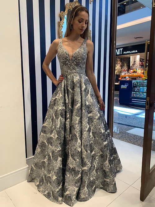 Vestido Cinza com Saia Princesa Estampada