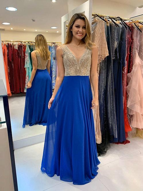 Vestido Azul Royal com Corpete Bordado