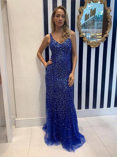 Vestido Pedraria Azul Royal