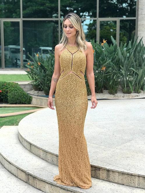 Vestido Alta Costura Bordado com Recortes