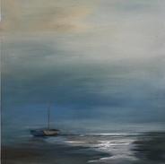 light at dusk, boat at rest