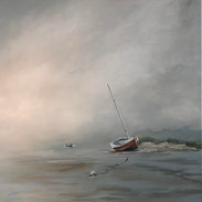 dunes in fog with red boat